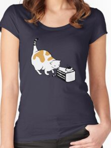 Science Cat STICKER Women's Fitted Scoop T-Shirt