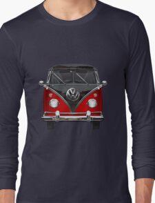 Volkswagen Type 2 - Red and Black Volkswagen T1 Samba Bus on White Long Sleeve T-Shirt