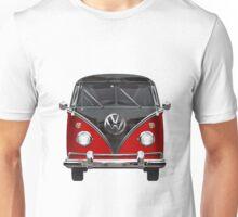 Volkswagen Type 2 - Red and Black Volkswagen T1 Samba Bus on White Unisex T-Shirt
