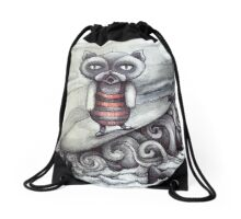 surfing grumpy cat art Drawstring Bag