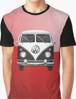 Volkswagen Type 2 - Black and White Volkswagen T1 Samba Bus on Red  Graphic T-Shirt