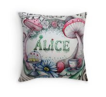 alice in the woods name sketch  Throw Pillow