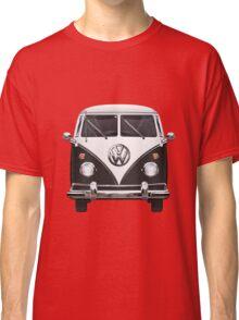 Volkswagen Type 2 - Black and White Volkswagen T1 Samba Bus on Red  Classic T-Shirt