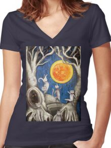 they dance under the light of the moon paper cut Women's Fitted V-Neck T-Shirt