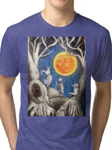 they dance under the light of the moon paper cut Tri-blend T-Shirt
