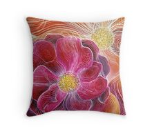 summer flowers abstract art Throw Pillow