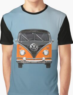 Volkswagen Type 2 - Black and Orange Volkswagen T1 Samba Bus over Blue Graphic T-Shirt