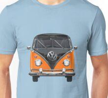 Volkswagen Type 2 - Black and Orange Volkswagen T1 Samba Bus over Blue Unisex T-Shirt