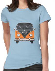 Volkswagen Type 2 - Black and Orange Volkswagen T1 Samba Bus over Blue Womens Fitted T-Shirt
