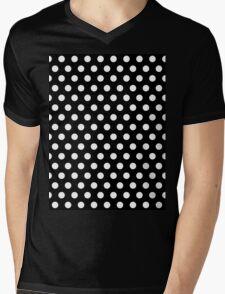 Polkadots Black and White Mens V-Neck T-Shirt