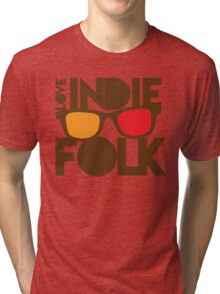 LOVE INDIE FOLK (with hipster glasses) Tri-blend T-Shirt