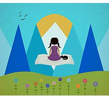 Girl and Black Cat - Magic Carpet Photographic Print