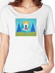 Girl and Black Cat - Magic Carpet Women's Relaxed Fit T-Shirt