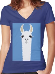 LLAMA PORTRAIT #4 Women's Fitted V-Neck T-Shirt