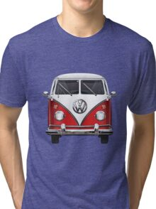 Volkswagen Type 2 - Red and White Volkswagen T1 Samba Bus over Green Canvas  Tri-blend T-Shirt