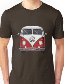 Volkswagen Type 2 - Red and White Volkswagen T1 Samba Bus over Green Canvas  Unisex T-Shirt