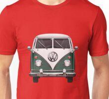 Volkswagen Type 2 - Green and White Volkswagen T1 Samba Bus over Red Canvas Unisex T-Shirt