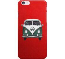 Volkswagen Type 2 - Green and White Volkswagen T1 Samba Bus over Red Canvas iPhone Case/Skin