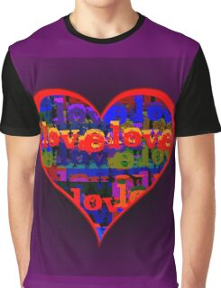 Love Love Heart Purple Graphic T-Shirt
