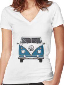 Volkswagen Type 2 - Blue and White Volkswagen T1 Samba Bus over Orange Canvas Women's Fitted V-Neck T-Shirt