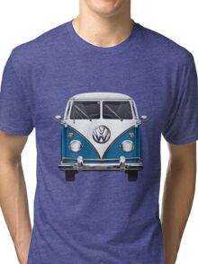 Volkswagen Type 2 - Blue and White Volkswagen T1 Samba Bus over Orange Canvas Tri-blend T-Shirt