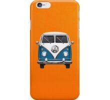 Volkswagen Type 2 - Blue and White Volkswagen T1 Samba Bus over Orange Canvas iPhone Case/Skin