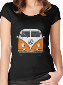 Volkswagen Type - Orange and White Volkswagen T1 Samba Bus over Blue Canvas  Women's Fitted Scoop T-Shirt