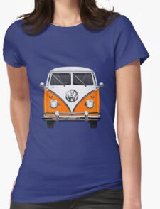 Volkswagen Type - Orange and White Volkswagen T1 Samba Bus over Blue Canvas  Womens Fitted T-Shirt