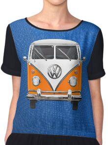 Volkswagen Type - Orange and White Volkswagen T1 Samba Bus over Blue Canvas  Chiffon Top