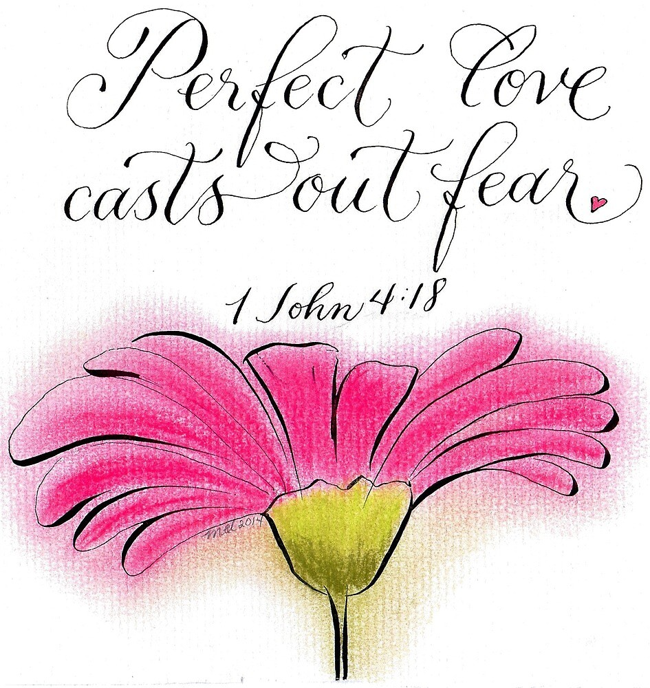 Inspirational Love verse with a hot pink daisy by Melissa Goza