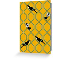 Tui and Fantail on a Lattice Greeting Card