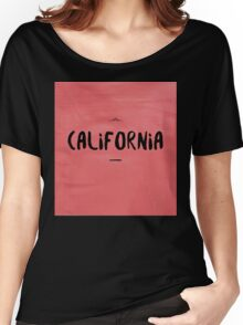 CALIFORNIA black on red Women's Relaxed Fit T-Shirt