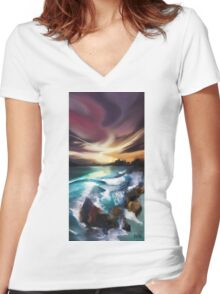 Magic Seascape Women's Fitted V-Neck T-Shirt