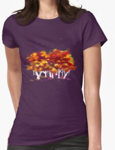 Red Forest in Winter Womens Fitted T-Shirt