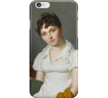 Pierre Louis Bouvier PORTRAIT OF A LADY, HALF LENGTH, HOLDING AN ARTIST'S PORTFOLIO, SEATED AT A TABLE WITH A CHEST OF DRAWING PARAPHERNALIA iPhone Case/Skin