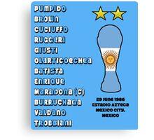 Argentina 1986 World Cup Final Winners Canvas Print