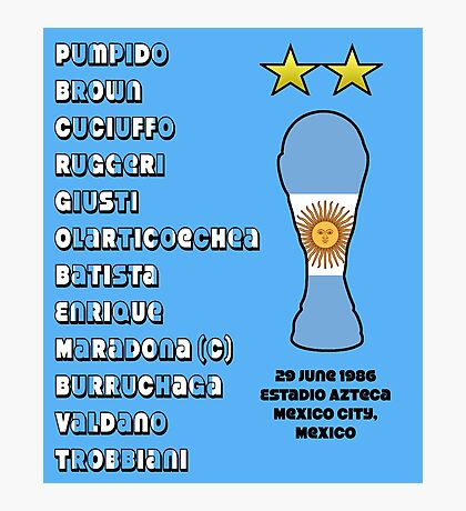 Argentina 1986 World Cup Final Winners Photographic Print