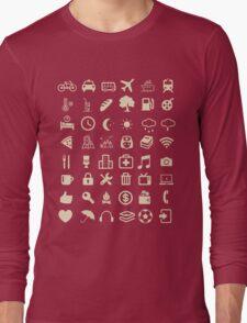 Cool Traveller T-shirt - Iconspeak T-shirt - 48 Travel Icons Long Sleeve T-Shirt