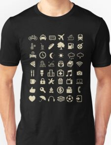 Cool Traveller T-shirt - Iconspeak T-shirt - 48 Travel Icons Unisex T-Shirt