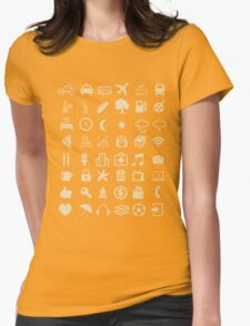 Cool Traveller T-shirt - Iconspeak T-shirt - 48 Travel Icons Womens Fitted T-Shirt