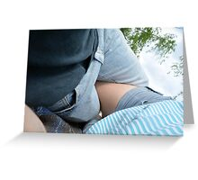 Young couple at a picnic in the park. Greeting Card