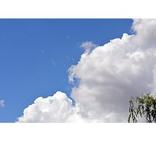 Blue sky with white clouds and soap bubbles. Photographic Print