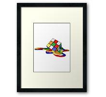 Rubiks Cube Melting Framed Print