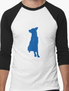 Blue sitting dog silhouette Men's Baseball ¾ T-Shirt