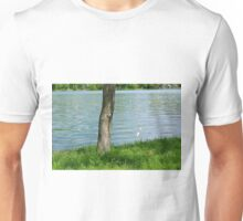 Tree trunk by the river. Unisex T-Shirt