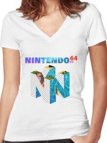 Vaporwave Nintendo 64 Women's Fitted V-Neck T-Shirt
