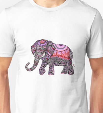 zentangle elephant on the light orchid background T-Shirt