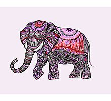 zentangle elephant on the light orchid background Photographic Print