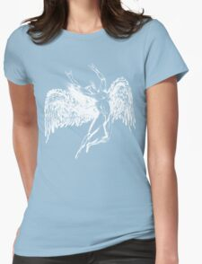 ICARUS THROWS THE HORNS - solid white NEW DESIGN Womens Fitted T-Shirt