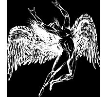 ICARUS THROWS THE HORNS - solid white NEW DESIGN Photographic Print